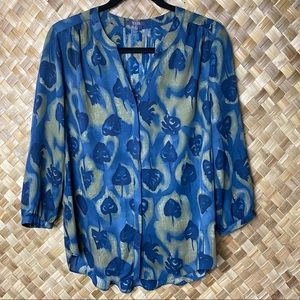 NYDJ Small Blue Button Front 3/4 Sleeve Blouse Top